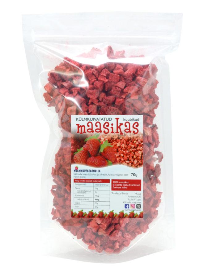 külmkuivatatud maasika kuubikud 70g - kulmkuivatatud.ee