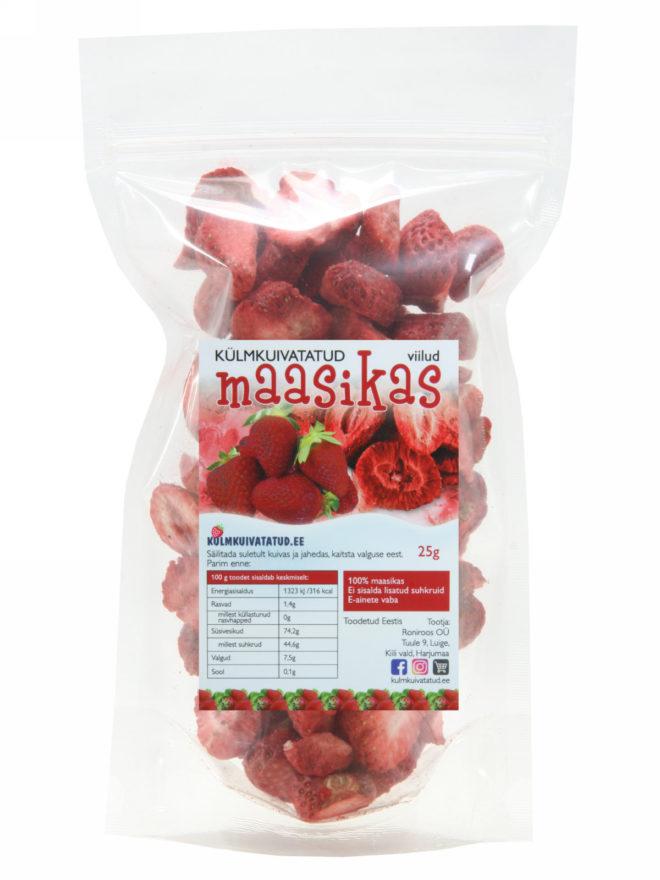 külmkuivatatud maasika tükid 25g - kulmkuivatatud.ee