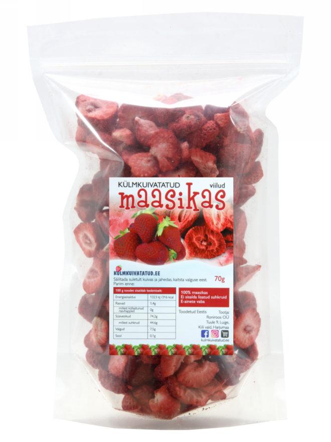 külmkuivatatud maasika tükid 70g - kulmkuivatatud.ee